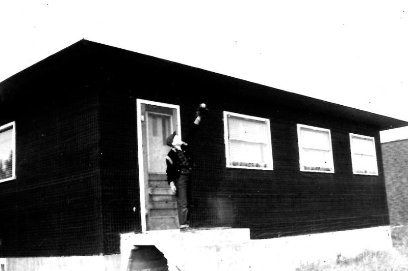 Jaron at Cornation 1955 tar paper house